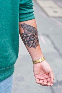 Bird and mandala tattoo #BirdTattoo, #MandalaTattoo