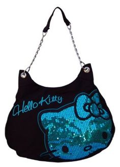 Hello Kitty Dazzled Blue Sequin and Embroidered Shoulder Bag