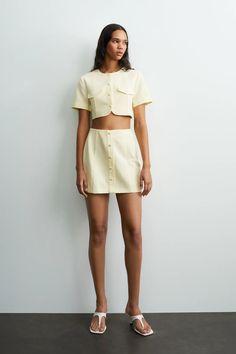 LINEN BLEND MINI SKIRT | ZARA United Kingdom Zara United Kingdom, Zara United States, Honeymoon Style, Newlyweds, Mini Skirts, Two Piece Skirt Set, Crop Tops, Shopping, Dresses