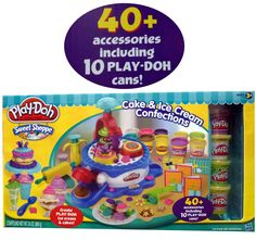 Play-Doh Sweet Shoppe Cake & Ice Cream Confections Accessoried + 10 Cans of Play Doh Recipe For Christmas Ornaments, Kids Toys For Christmas, Baby Dolls For Kids, Toys For Girls, Play Doh Toys, Ice Cake, Glitter Crafts, Miniature Crafts, Happy Mom