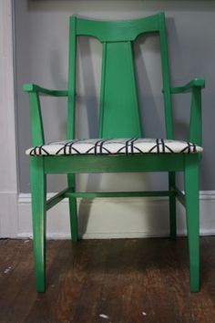 Find old chair. Paint. Re-upholster.