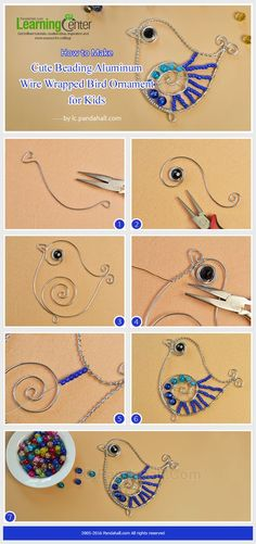 Cute craft for kids, this is about how to make cute beading aluminum wire wrappe. - Cute craft for kids, this is about how to make cute beading aluminum wire wrapped bird ornament for - Bird Crafts, Metal Crafts, Cute Crafts, Wire Tutorials, Jewelry Making Tutorials, Wire Ornaments, Bijoux Fil Aluminium, Estilo Hippie, Wire Weaving