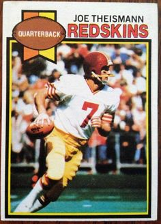 washington redskins joe theismann | Joe Theismann football card Washington redskins topps 1979 Passing ...