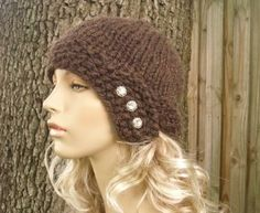 free+cloche+hat+pattern | Chunky Cloche Hat in Fudge with Jeweled Buttons - Free... | Shop ...