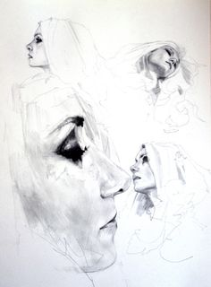 adrienpatout  Marielle's expressions worksheet,  2012,  charcoal, pencil and ink on paper,  A4 size.  Additional sketches to get used to Marielle's face proportions.  For more art visitArt—Life!