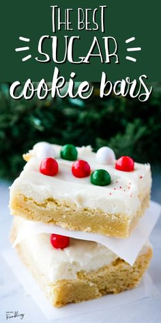 These Sugar Cookie Bars are some of the easiest and tastiest cookies you can make! They are soft and chewy and topped off with a thick layer of sweet frosting and sprinkles. These cookies are easy to decorate for any occasion – or to just enjoy for a simple family dessert.