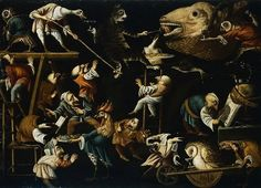 Faustino Bocchi Imaginary animals and dwarves fighting, drinking and carousing, 1700