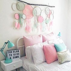 Beautiful dream catcher wall art display for my girls' rooms