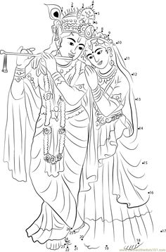 Radha Krishna dot to dot printable worksheet - Connect The Dots