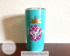 Personalized Pineapple Decal for Yeti 20oz, Pineapple Vinyl Decal, Yeti Tumbler Decal, Yeti Cup Sticker, 20oz Yeti Rambler Custom Decal by shopInitiallyYours on Etsy https://www.etsy.com/listing/258795398/personalized-pineapple-decal-for-yeti