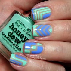 "piCture pOlish Honeydew & Swagger negative space nail art with ""right angle"" Nail Vinyls 
