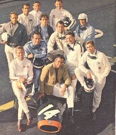 "Siffert, Bonnier, Phil Hill and Graham Hill with the actors of ""Grand Prix"" and John Frankenheimer."