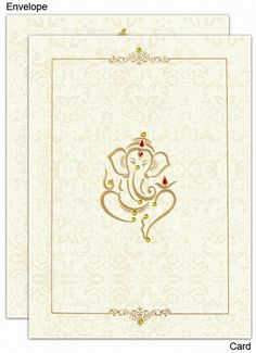 www.regalcards.com .Made from matt finish natural shade card stock this very sober and decent invitation card has just the right touch of grace. A beautiful embossed traditional image of Ganesh ji on the center front of the card and decorated with colorful rhinestones (kundans) along with a very attractive and decent border are enough to create an impact. Light shaded floral patterns all over the card front and matching envelope front too are very impressive. Card comes with 2 inserts. Indian Wedding Invitation Cards, Wedding Invitation Card Design, Indian Wedding Invitations, Wedding Stationery, Invite, Wedding Card Design Indian, Indian Wedding Cards, Tamil Wedding, Marriage Invitation Card
