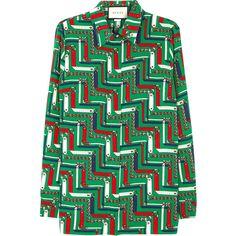 Gucci Green chain-print silk shirt (21,155 MXN) ❤ liked on Polyvore featuring tops, green shirt, shirt top, colorful shirts, gucci shirt and gucci