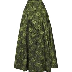 Alice + Olivia Carey metallic jacquard maxi skirt (2.025 RON) ❤ liked on Polyvore featuring skirts, leaf green, pleated maxi skirt, green maxi skirt, long pleated maxi skirt, green pleated skirt and long green skirt