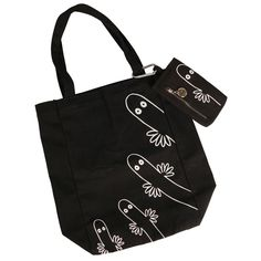 A nice black Hattifatteners textile shopping bag. The bag is 32 x 34 cm and the package includes a cellphone case sized 15 x 8 cm.