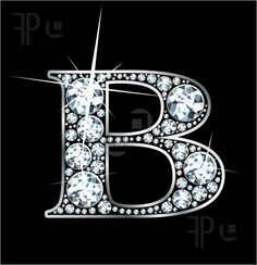 "Illustration of A stunning beautiful ""B"" set in diamonds and silver."