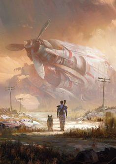 "Concept artist Jordan grimmer for the Fallout companion. ""Regarde Canigou, ça c'est un p.n de chouette ventilo de bureau ! Fallout Fan Art, Fallout Concept Art, Cyberpunk, Fallout New Vegas, Arte Sci Fi, Sci Fi Art, Fantasy World, Fantasy Art, Final Fantasy"