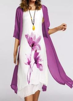 Cotton Blends General Vacation Dresses Purple Chinese Style Round Neckline Spring Midi Summer A-line Dress Floral S M L Half Sleeve XL XXL Wrap Dress Floryday Dresses, Junior Dresses, Tight Dresses, Simple Dresses, Dress Outfits, Casual Dresses, Fashion Dresses, Dresses With Sleeves, Ladies Dresses