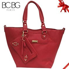 Bcbg Paris Tote Wconvertible Pouch Tote Bag Blue  Big Size 2015 Line DARK RED *** You can find out more details at the link of the image.