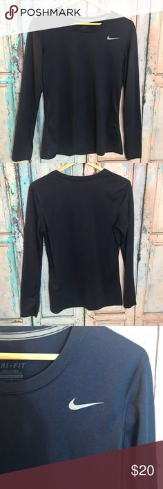 """Nike drift full sleeve shirt women's Medium Women's Nike Dri Fit Shirt Size Medium.  ▪️Navy blue color. ▪️24"""" Length, 19"""" Armpit to Armpit  ▪️excellent pre-owned condition.  Reasonable offers considered Nike Tops Tees - Long Sleeve"""