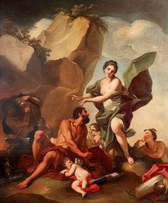 Antonio Balestra - Thetis at the forge of Vulcan: Tags: thetis, nereids, nymphs, vulcan, hepaestus, hefaistos, trojan war, iliad,