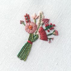 """Tiny bouquet (2.25"""")! There will be a number of pieces like this under $100 when the new collection launches next week. Newsletter subscribers get first dibs. Sign up via he link in my profile. #happycactusembroidery #dstexture"""