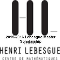 2015-2016 Lebesgue Master Scholarship for International Students in France , and applications are submitted till March 31, 2015. Applications are invited for Lebesgue scholarship from international students to undertake master program in Mathematics in Rennes or Nantes.