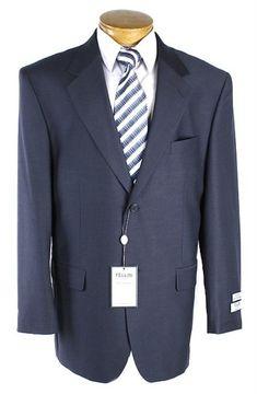SKU#RU7610 Mens 2 Button Slim Cut Navy Pinstripe Suit Navy $175 ...