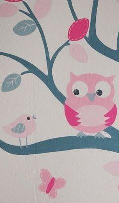 Babykamer boom muurschildering met roze voor een meisje