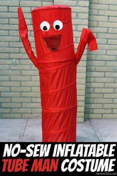 Need a wacky, last minute costume idea? How about a no-sew inflatable tube man costume! Grab a couple of pop up of hampers and get started!