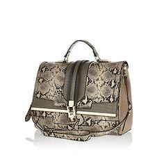 Khaki snake print structured bag $84.00