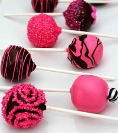 Black & Hot Pink Cake Pops by EatACakePop on Etsy