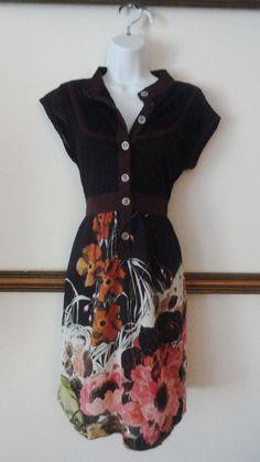 Anthropologie Nick & Mo Sweater Dress Button Vintage Pattern Dress Small S #NickMo #SweaterDress