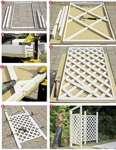costruire un grigliato Backyard Privacy, Backyard Patio, Backyard Landscaping, Diy Garden Projects, Outdoor Projects, Pvc Pipe Projects, Privacy Fence Designs, Privacy Screen Outdoor, Garden Trellis