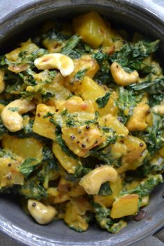 Indian Vegetarian Recipes 77177 Kale and Cashew Curry with Potatoes - Juliet's Recipes Salmon Recipes, Veggie Recipes, Indian Food Recipes, Vegetarian Recipes, Dinner Recipes, Cooking Recipes, Healthy Recipes, Potato Recipes, Vegetarian Curry