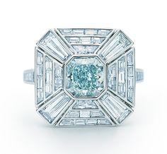 Tiffany & Co. Fancy Greenish Blue Diamond Art Deco Ring in platinum with white diamonds