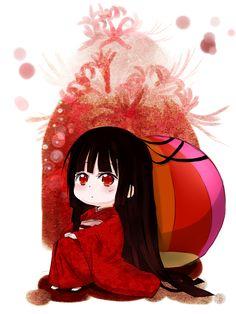 Tags: Anime, Jigoku Shoujo, Enma Ai, Adorably Cute, Huahua, Obi, Temari Ball