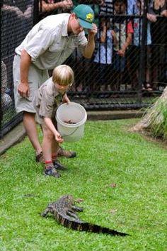 Robert Irwin, son of the late Steve Irwin, (the Crocodile Hunter) feeds the alligators!  7 April 2012