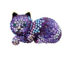 Lying Down Crystal Cat Brooch