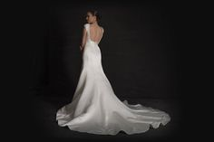 Grace Philips 2017 Joni A satin fit n flare fishtail wedding dress with a square neckline bodice, beaded embellishment and two metre-long train.