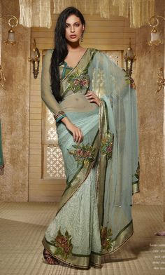 Sky Blue Color Net And Faux Georgette Sarees