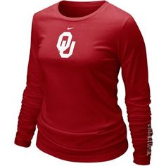 Nike Oklahoma Sooners Ladies Crimson Classic Logo Long Sleeve T-shirt    #Fanatics