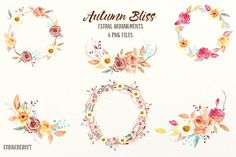 Watercolor Fall Floral Arrangement by Corner Croft on @creativemarket