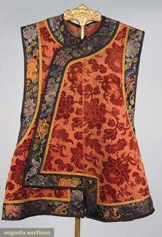 Augusta Auctions, October 2008 Vintage Clothing & Textile Auction, Lot 57: Man's Velvet Vest, China, Mid 19th C