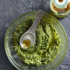 To store pesto, cover the surface with plastic wrap (this keeps it from turning brown) and refrigerate for up to 1 week./