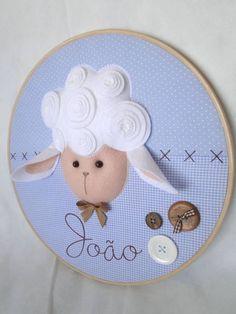 Quadro Maternidade Bastidor Ovelha | Débora Radtke | Elo7