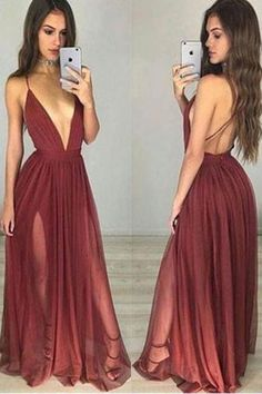 Burgundy Simple V neck Tulle Long Prom Dress,Party Dresses for Girls,Evening Dress,M73