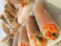Organic local vegetable spring rolls with house made peanut sauce Vegetable Spring Rolls, Peanut Sauce, House Made, Fresh Rolls, Catering, Spoon, Organic, Treats, Dishes