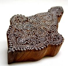 "Hand Carved Indian Textile Wood Block Printing Stamp Intricate Design in Benjamin Moore ""Grape Juice"""